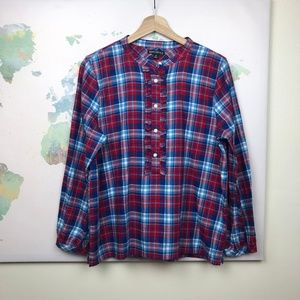 J. Crew Mercantile Flannel Popover Shirt Sz Medium